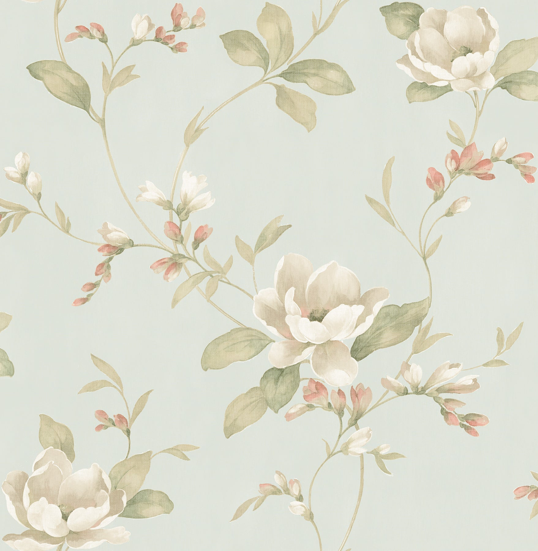 Caen Sage Floral Scroll Wallpaper