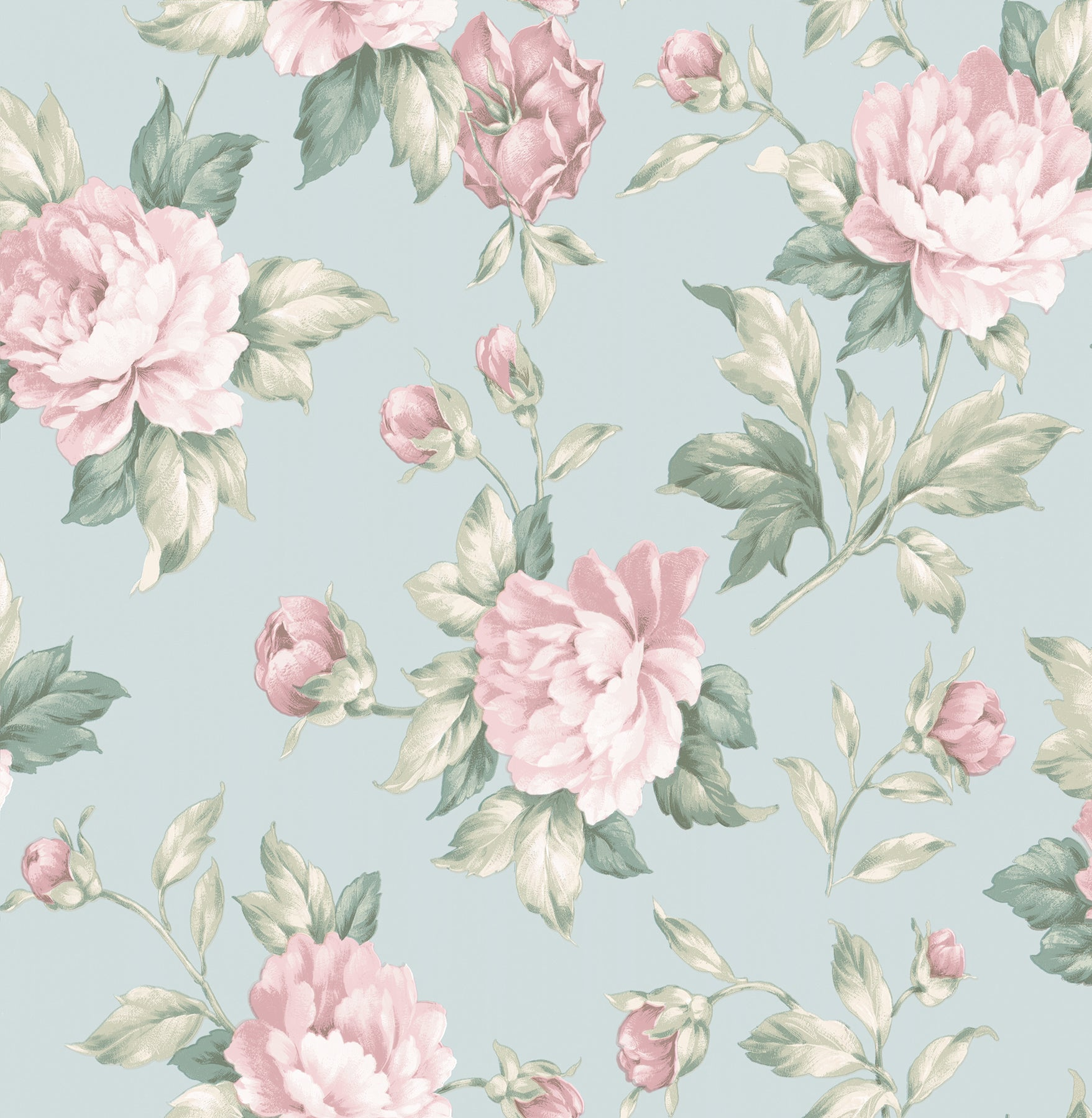 Catherine Light Blue Floral Wallpaper