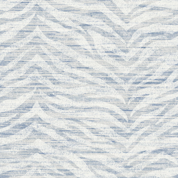 Antibes Blue Chevron Texture Wallpaper