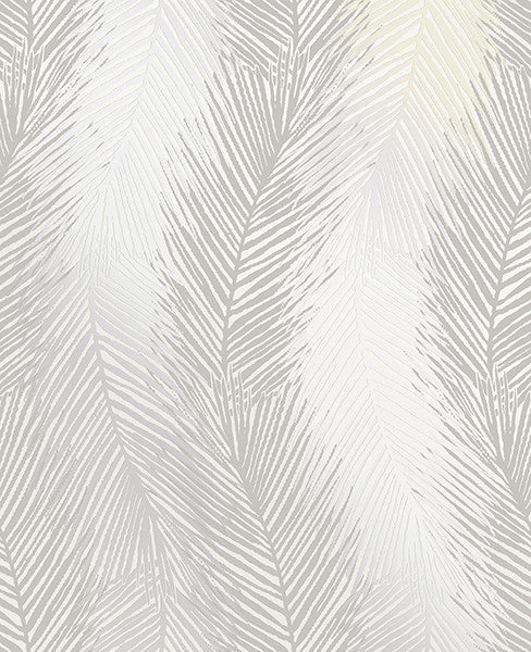 Wheaton Silver Leaf Wave Wallpaper