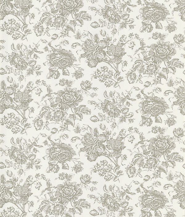 Pavot White Floral Toile Wallpaper