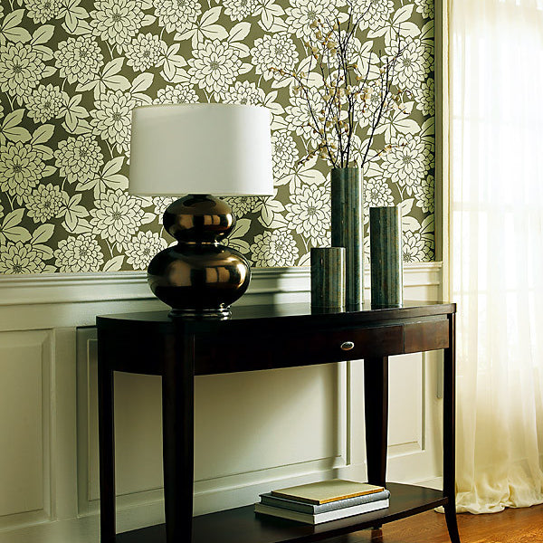 Souci Taupe Fun Floral Wallpaper