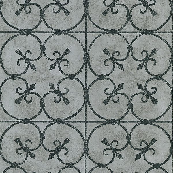 Avalon Silver Ironwork Wallpaper