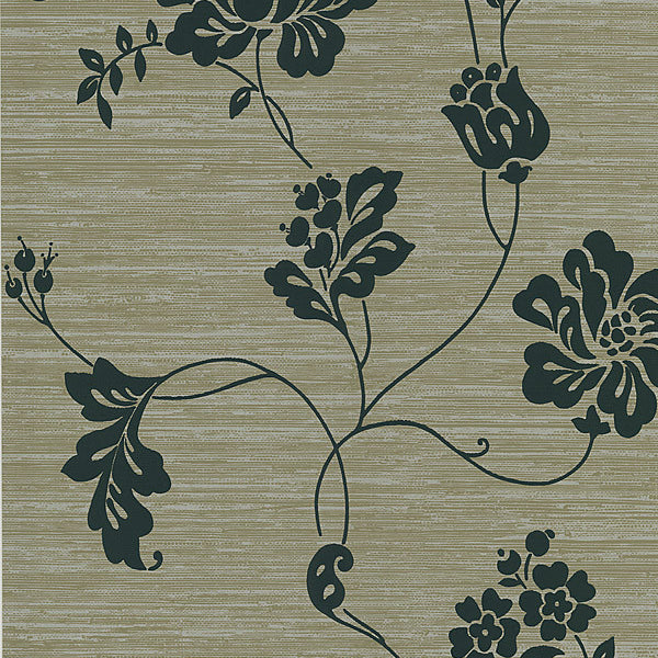 Amizmiz Taupe Floral Trail Wallpaper