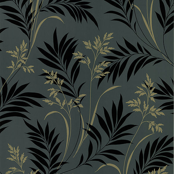 Bali Hai Black Foliage Wallpaper
