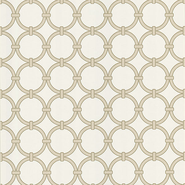 Lazo Beige Round Chain Link Wallpaper