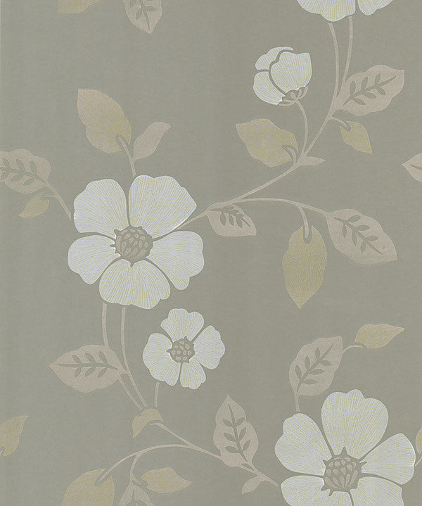 Poppy Taupe Modern Floral Wallpaper