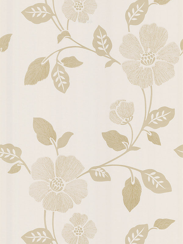 Poppy Beige Modern Floral Wallpaper