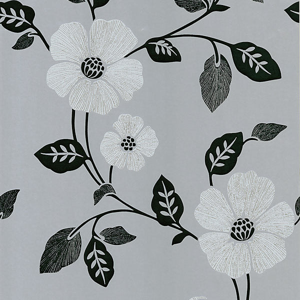 Poppy Silver Modern Floral Wallpaper