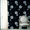 Poppy Black Modern Floral Wallpaper