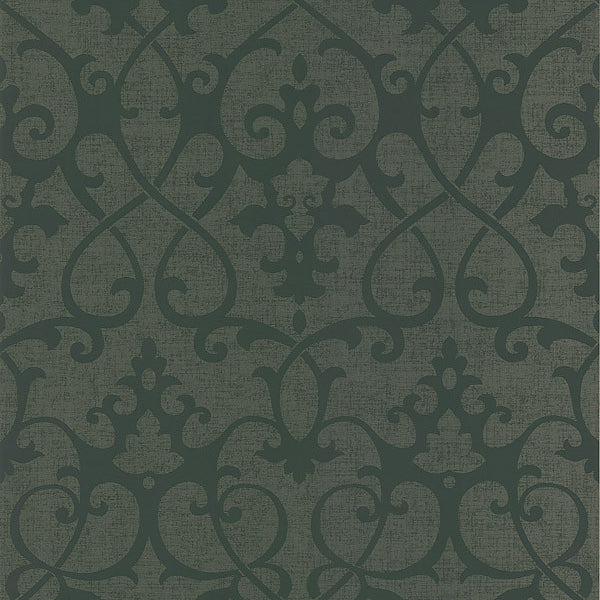 Octavia Brown Damask Swirl Wallpaper