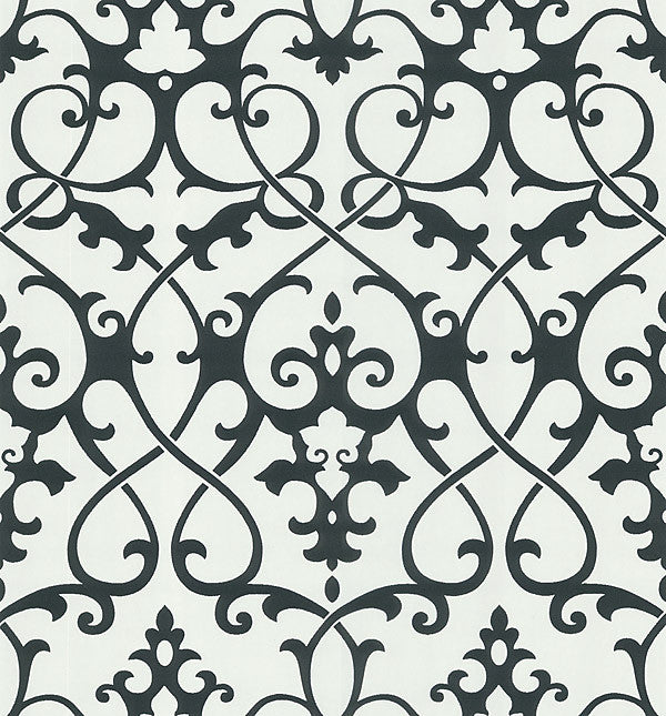 Octavia White Damask Swirl Wallpaper