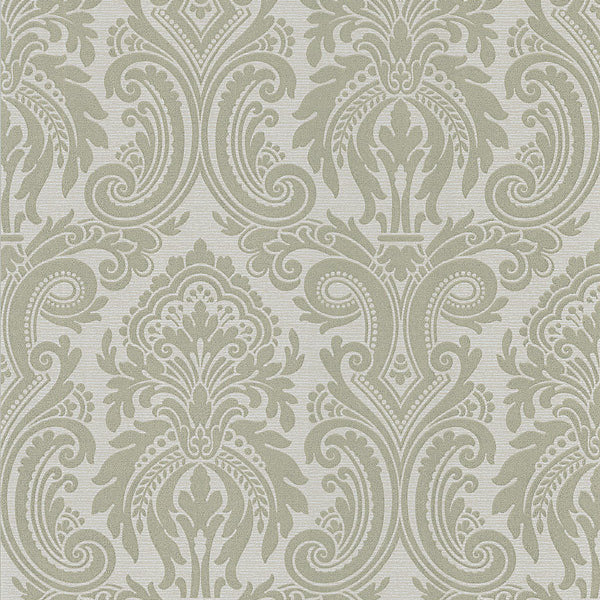Apollo Taupe Modern Damask Wallpaper