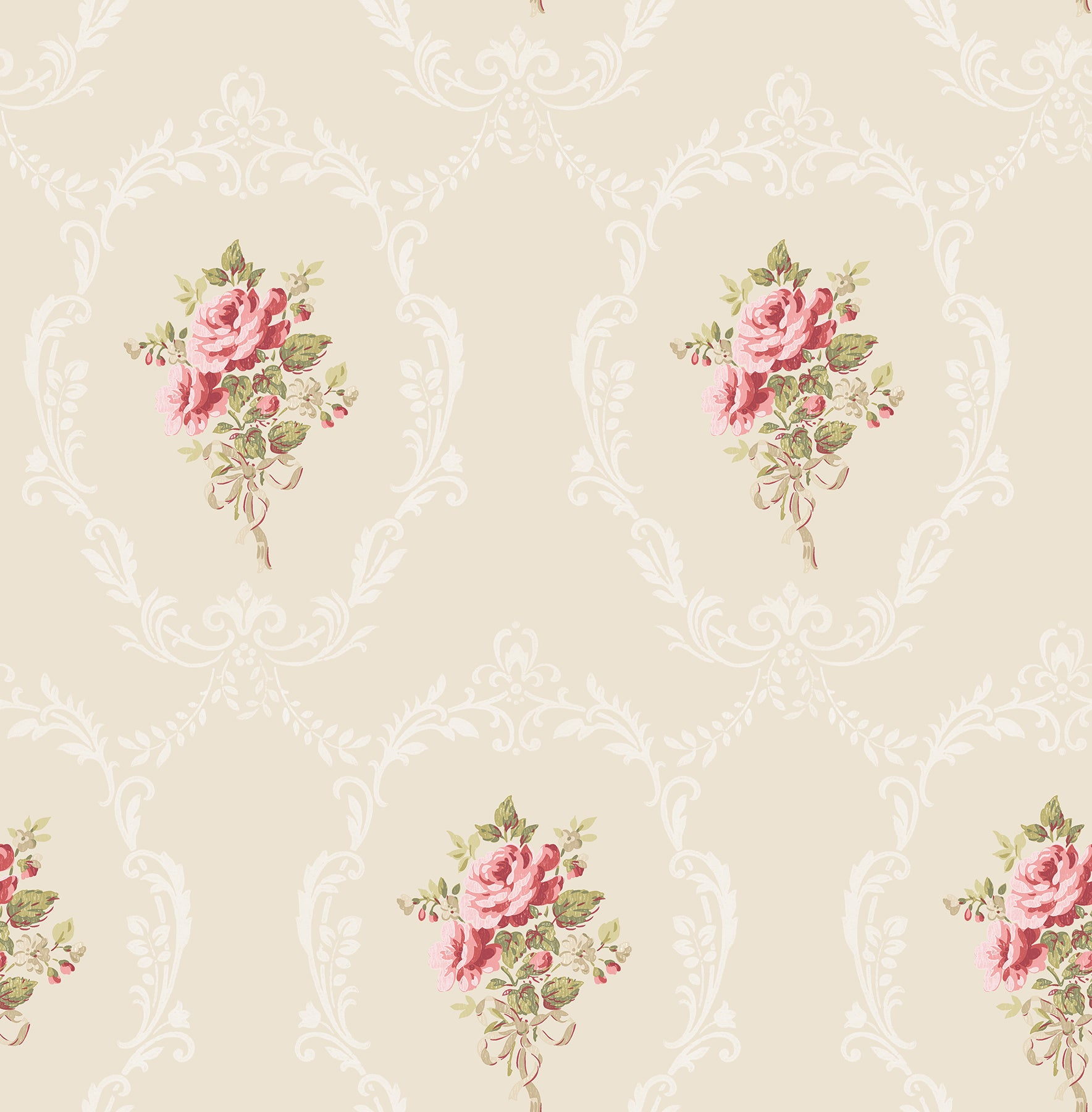 Camellia Gold Floral Cameo Wallpaper