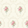 Camellia White Floral Cameo Wallpaper