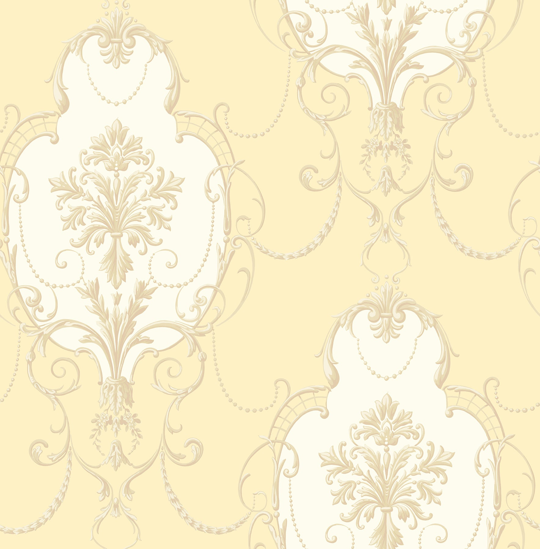 Lucinda Yellow Cameo Wallpaper