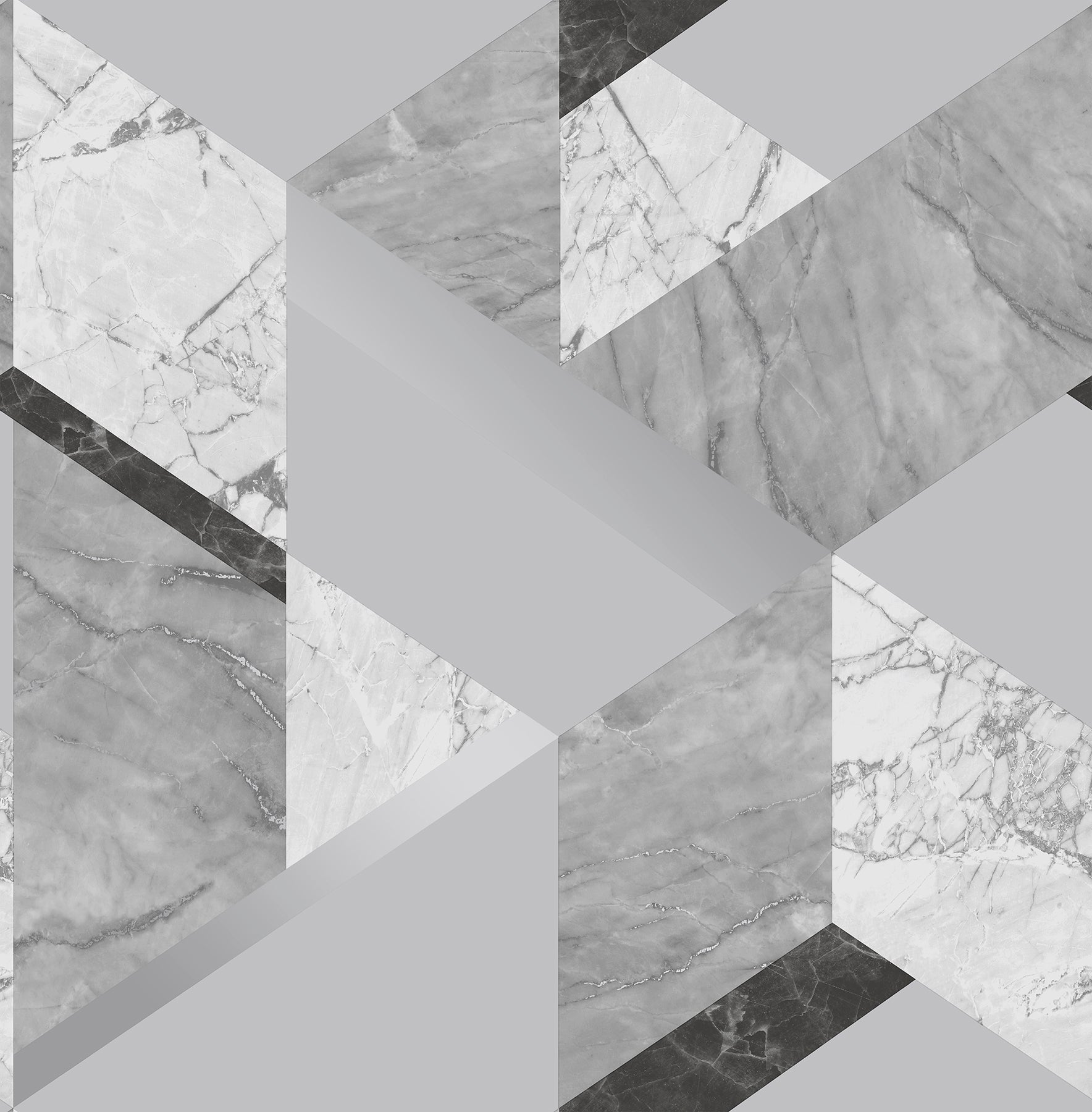 Elvira Grey Marble Geometric Wallpaper