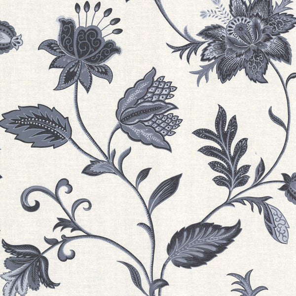 Heritage Blue Jacobean Flower Wallpaper