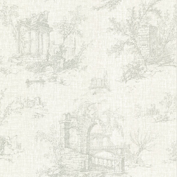 Antiquity Green Linen Toile Wallpaper