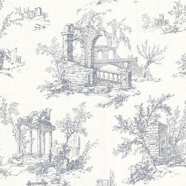 Antiquity Blue Linen Toile Wallpaper