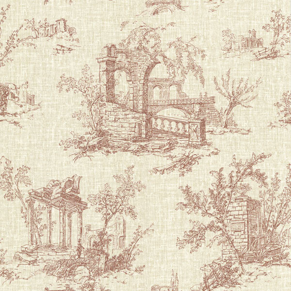 Antiquity Brick Linen Toile Wallpaper