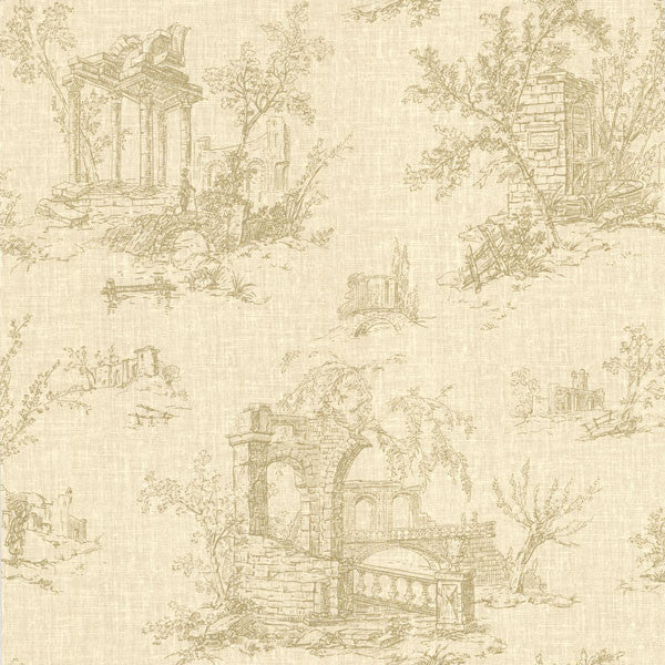 Antiquity Beige Linen Toile Wallpaper