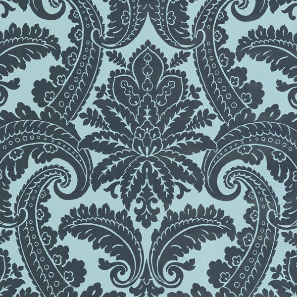 Green Foil Damask Wallpaper