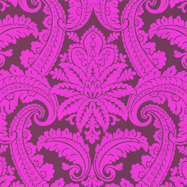 Purple Foil Damask Wallpaper