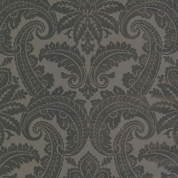 Brown Foil Damask Wallpaper