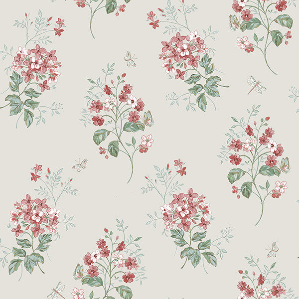 Beverly Red Floral Wallpaper