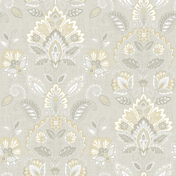 Rayleigh Grey Floral Damask Wallpaper