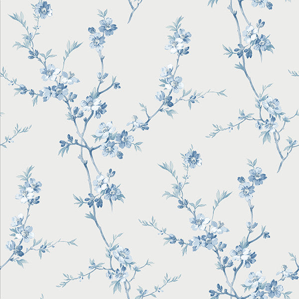 Cherry Blossom Light Blue Trail Wallpaper