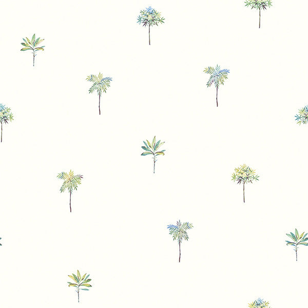 Palmetto Teal Leaves Wallpaper