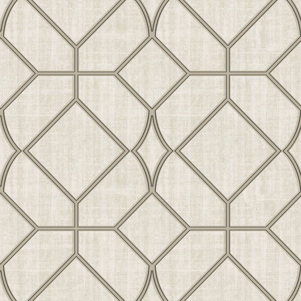Washington Square Taupe Trellis Wallpaper