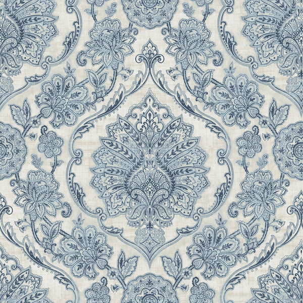 Carnegie Blue Damask Wallpaper