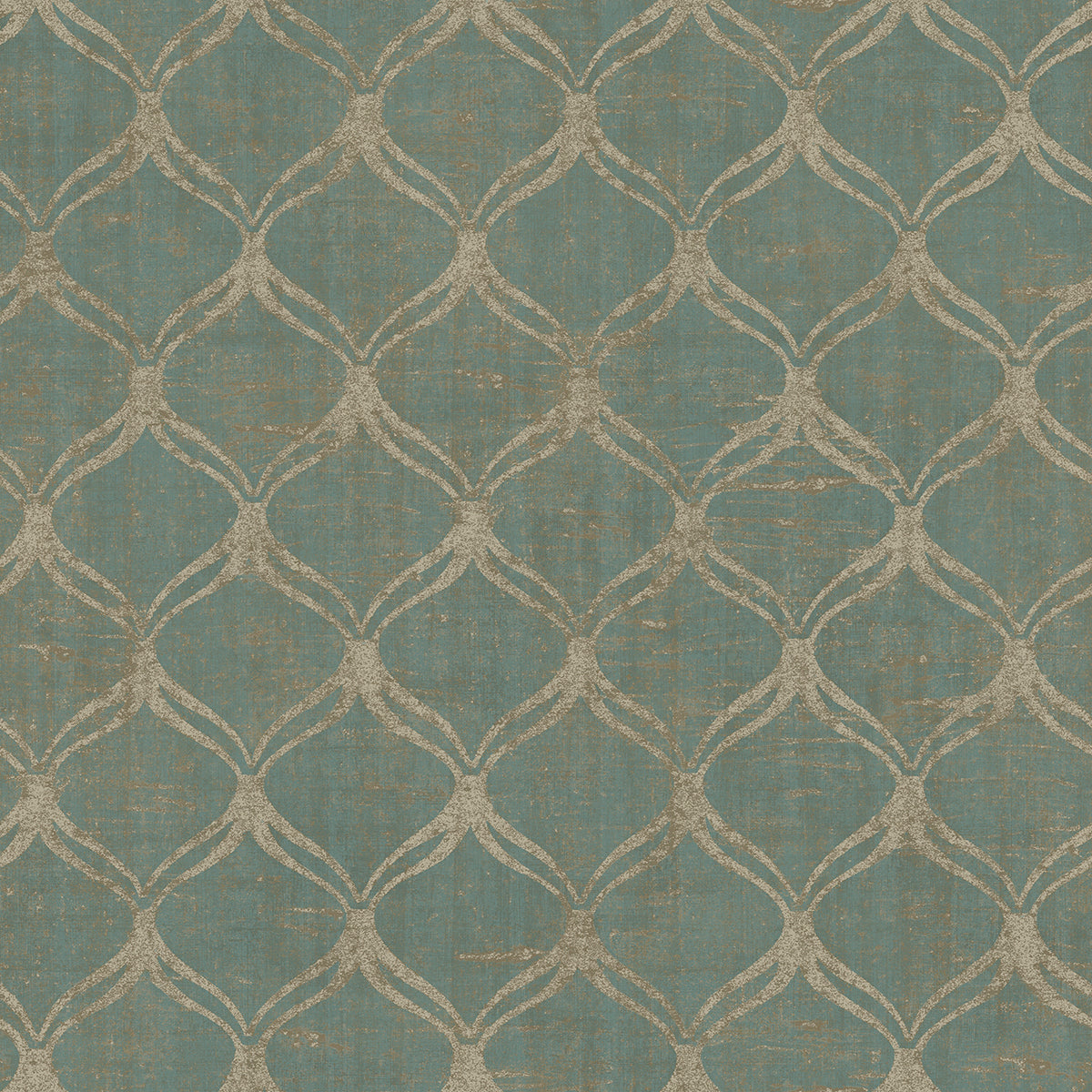 Bowery Teal Ogee Wallpaper
