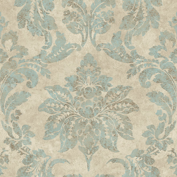 Astor Turquoise Damask Wallpaper