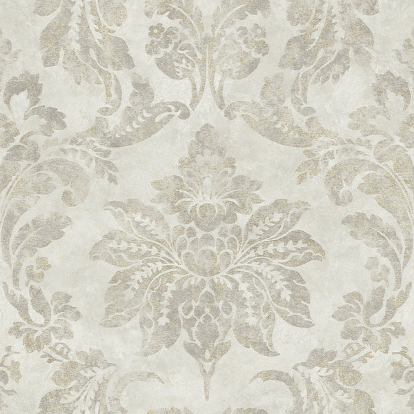 Astor Silver Damask Wallpaper