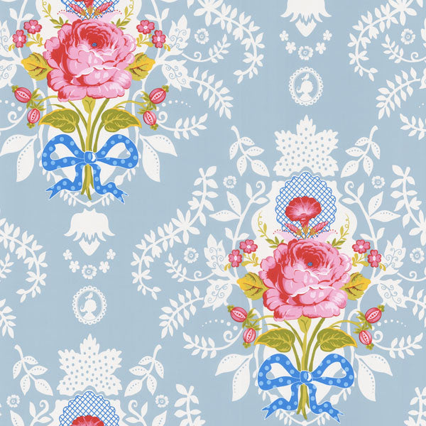 Light Blue Floral Cameo Wallpaper
