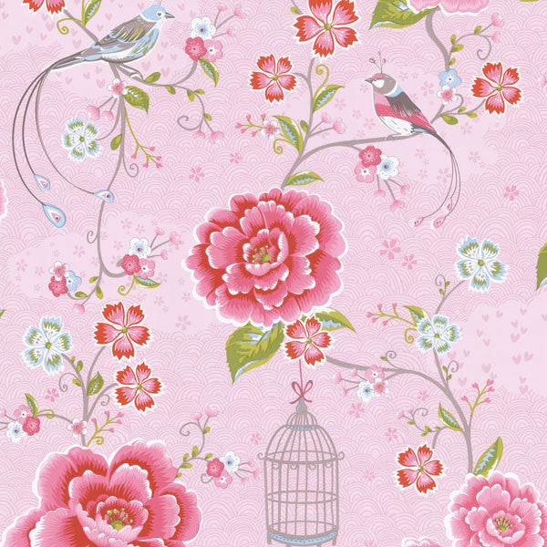 Pink Floral Birds Trail Wallpaper