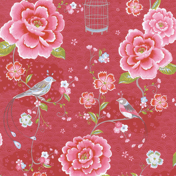 Magenta Floral Birds Trail Wallpaper