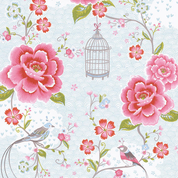 Light Blue Floral Birds Trail Wallpaper