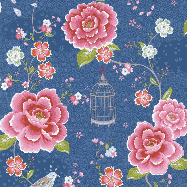 Blue Floral Birds Trail Wallpaper