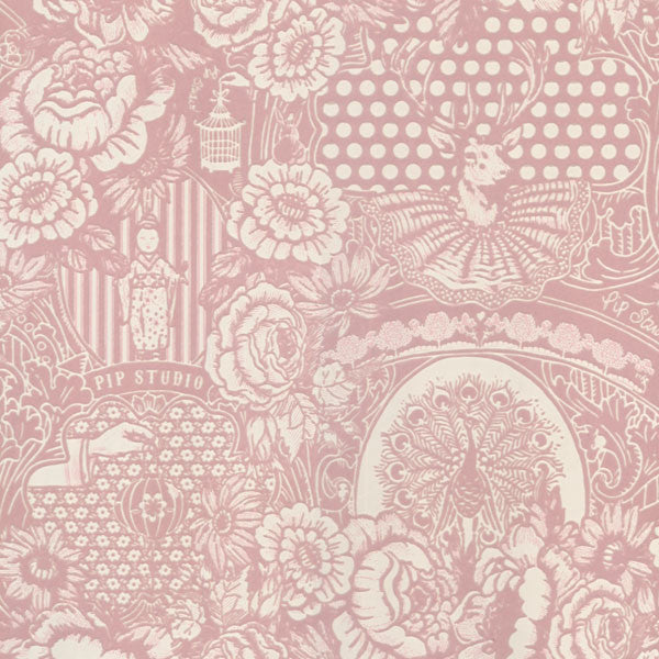Light Pink Flock Floral Toile Wallpaper