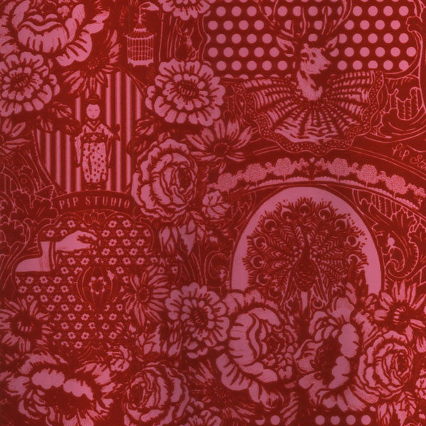 Red Flock Floral Toile Wallpaper