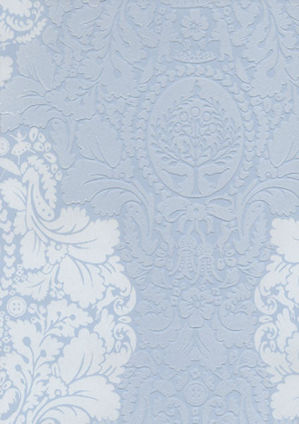 Light Blue Flock Damask Wallpaper