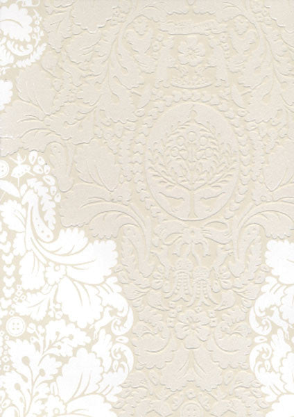 Beige Flock Damask Wallpaper