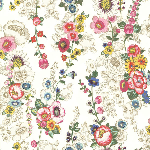 Eivissa Cream Vivid Floral Wallpaper