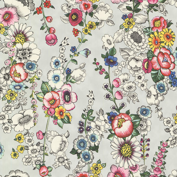 Eivissa Grey Vivid Floral Wallpaper