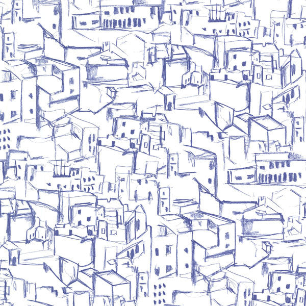 Kasabian Blue Hillside Village Sketch Wallpaper